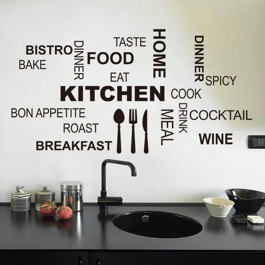 Kitchen characters words wall stickers kitchen wall decal home fashion characters words stickers kitchen wall stickers home decoration blace black quotes wall sticker fashion amipublicfo Gallery