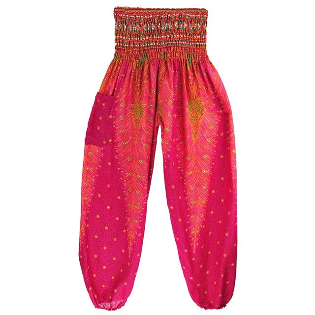 Feather Yoga Bohemian Harem Summer Beach Pants Rose