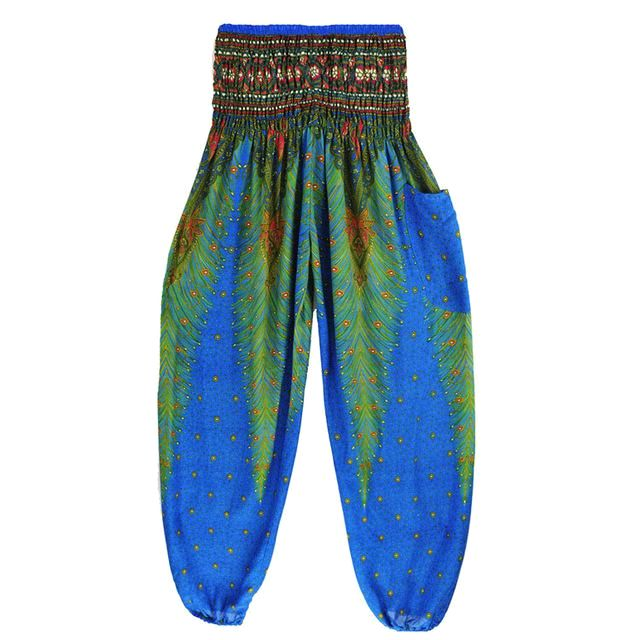 Feather Yoga Bohemian Harem Summer Beach Pants Lake Blue