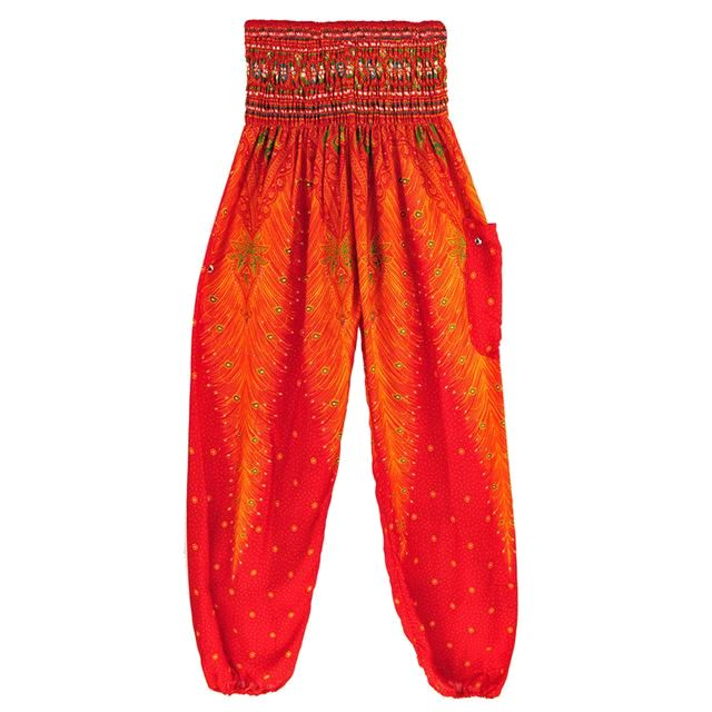 Feather Yoga Bohemian Harem Summer Beach Pants Red