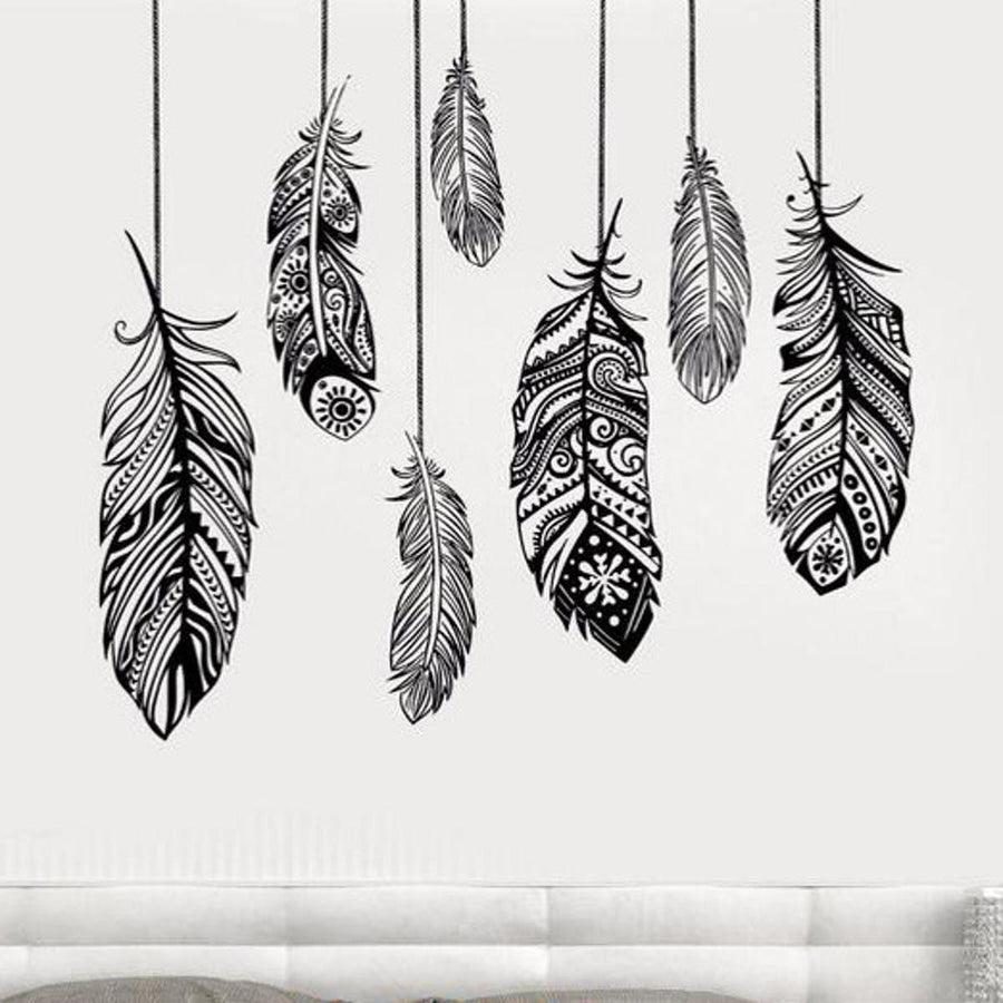 Feather Wall Sticker Feathers Wall Sticker feather-wall-sticker-1 Black / M 33 in x 28 in