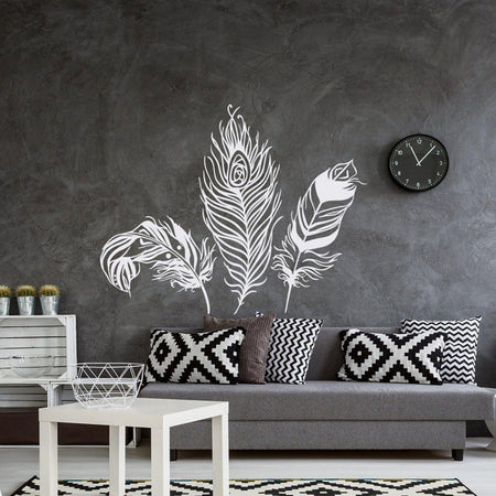 Feather Wall Sticker Feathers Wall Sticker feather-wall-sticker black / 18x22inch