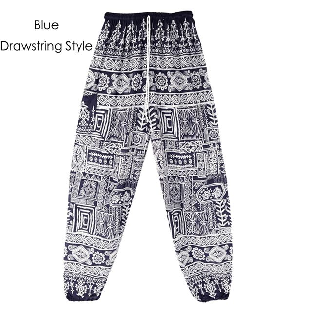Fish Bone Bohemian Printed Harem Yoga Beach Chill Vacation One Size Women Pants 2Blue /