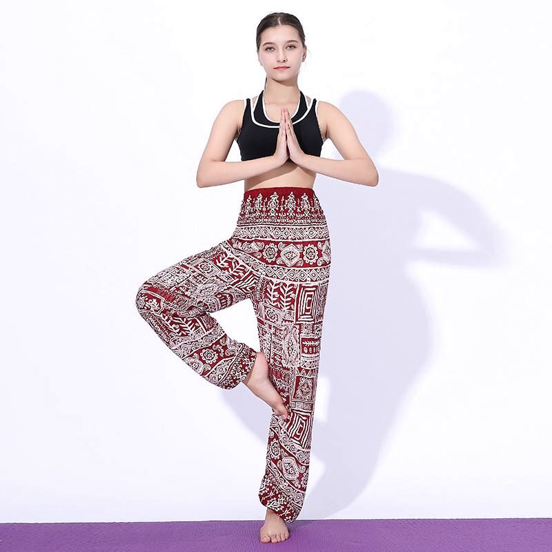 Fish Bone Bohemian Printed Harem Yoga Beach Chill Vacation One Size Women Pants