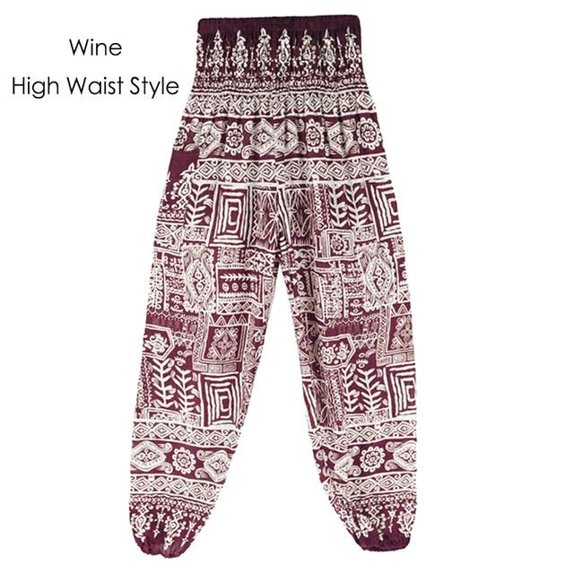 Fish Bone Bohemian Printed Harem Yoga Beach Chill Vacation One Size Women Pants 1Wine /