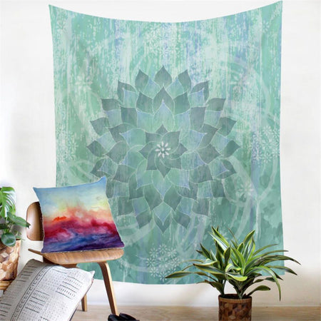 Floral Lotus Blue Green Tapestry Yoga Picnic Beach Blanket Sofa Bed Cover Boho Bohemian Gypsy Wall Art Tapestrie