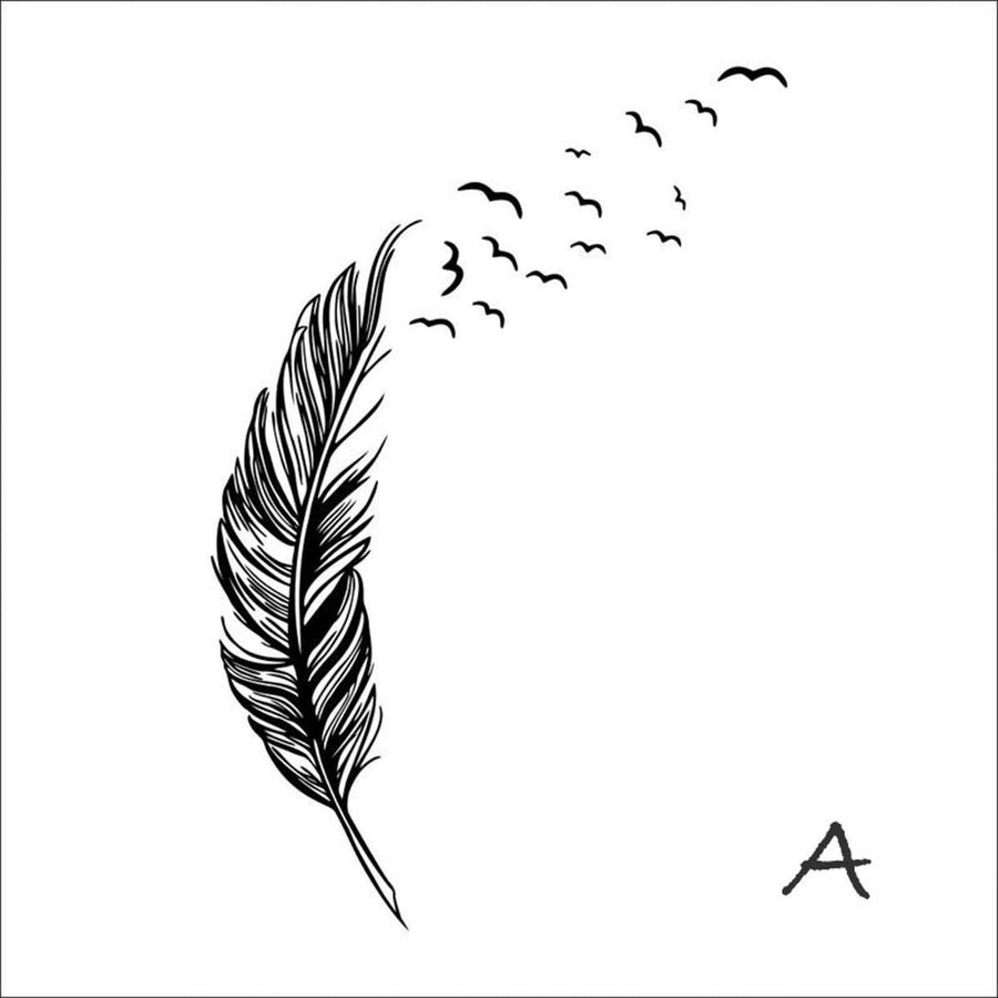 Flying Feather Wall Sticker Feathers Wall Sticker flying-feather-wall-sticker A black