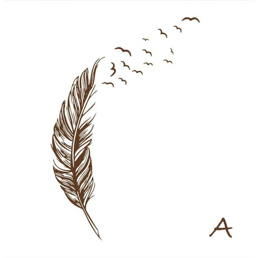Flying Feather Wall Sticker Feathers Wall Sticker flying-feather-wall-sticker A brown