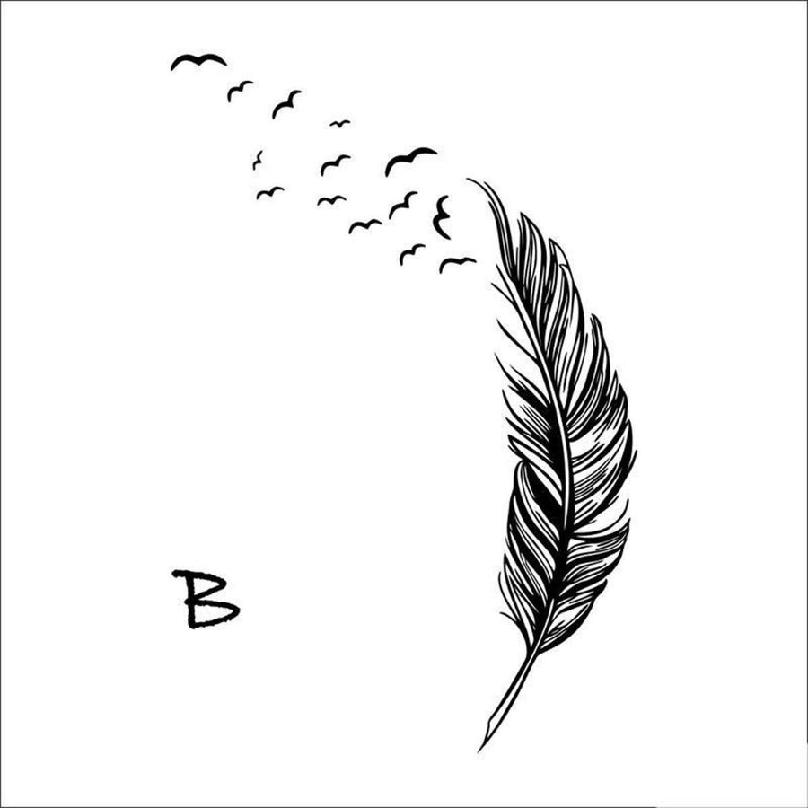 Flying Feather Wall Sticker Feathers Wall Sticker flying-feather-wall-sticker B black