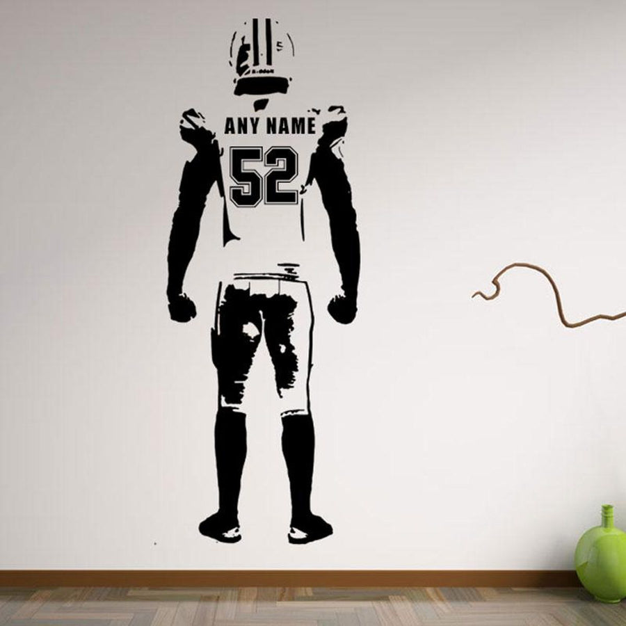 Football Wall Decal Decor Custom Jersey Name And Number Vinyl Sticker American Football Player Sports Wall Sticker