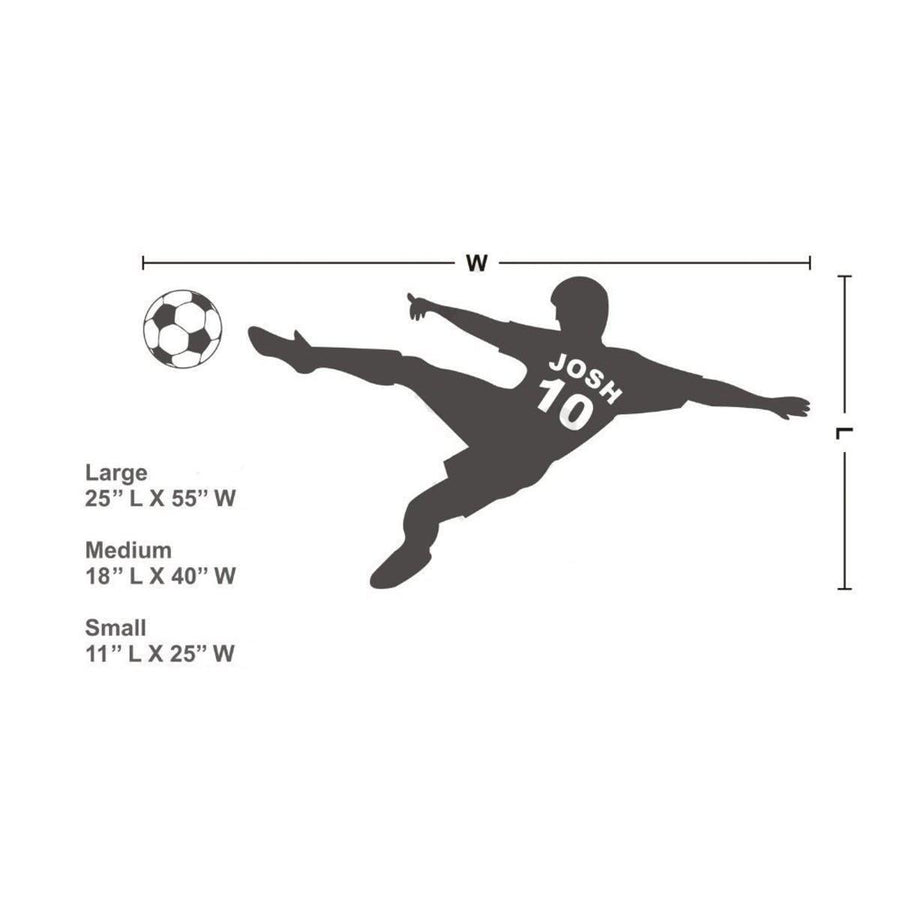 Football Personalized Wall Sticker sports Wall Sticker world-map-football-soccer-ball-personalized-name-number-vinyl-wall-decal-poster-wall-art-children-wall-sticker-kids-room-decor Black / Medium 18x40in