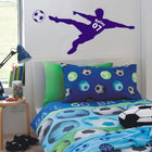 Football Personalized Wall Sticker sports Wall Sticker world-map-football-soccer-ball-personalized-name-number-vinyl-wall-decal-poster-wall-art-children-wall-sticker-kids-room-decor Blue / Medium 18x40in