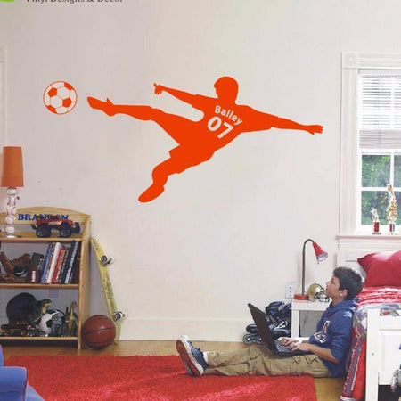 Football Personalized Wall Sticker sports Wall Sticker world-map-football-soccer-ball-personalized-name-number-vinyl-wall-decal-poster-wall-art-children-wall-sticker-kids-room-decor Orange / Medium 18x40in