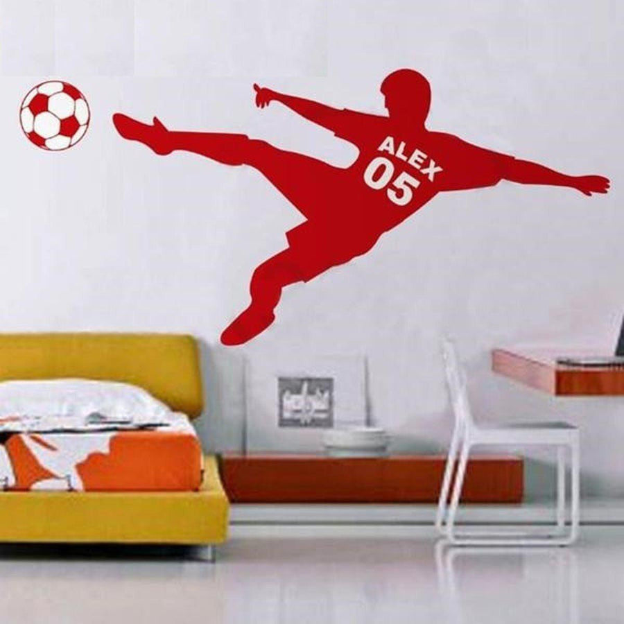 Football Personalized Wall Sticker sports Wall Sticker world-map-football-soccer-ball-personalized-name-number-vinyl-wall-decal-poster-wall-art-children-wall-sticker-kids-room-decor Red / Medium 18x40in