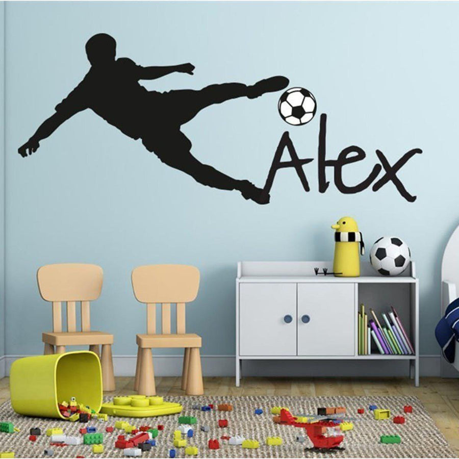 Football Player Wall Sticker sports Wall Sticker football-soccer-ball-personalized-name-vinyl-wall-decal-sticker-art-children-wall-sticker-kids-room-decor-home-decoration-y-91 Black / 57x130cm
