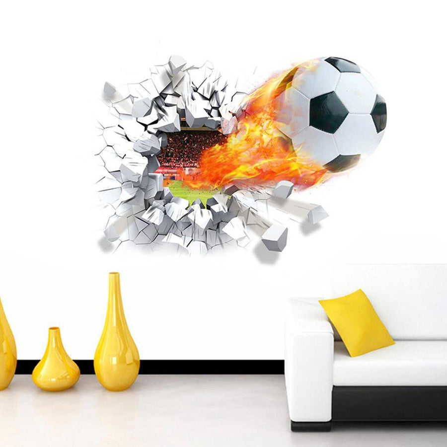 Football Through Wall Sticker sports Wall Sticker football-through-wall-stickers-kids-room-decoration-home-decals-soccer-funs-3d-mural-art-sport-game-pvc-poster-50-70cm-0175 Default Title