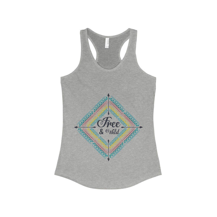 Free & Wild Tank Top Bohemian Gypsy Boho Hippie Spirit Yoga Meditation Vacation Sport Chill Racerback Women Chic Fashion 90/10 Heather Gray