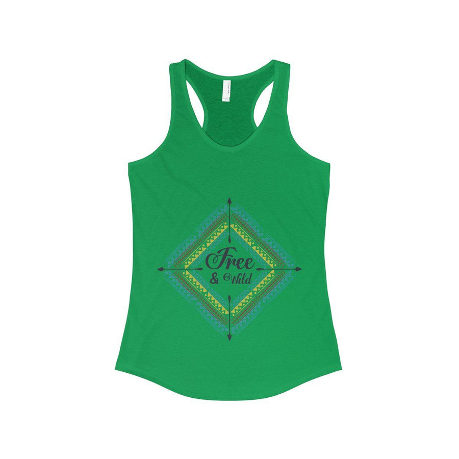 Free & Wild Tank Top Bohemian Gypsy Boho Hippie Spirit Yoga Meditation Vacation Sport Chill Racerback Women Chic Fashion Solid Kelly Green /