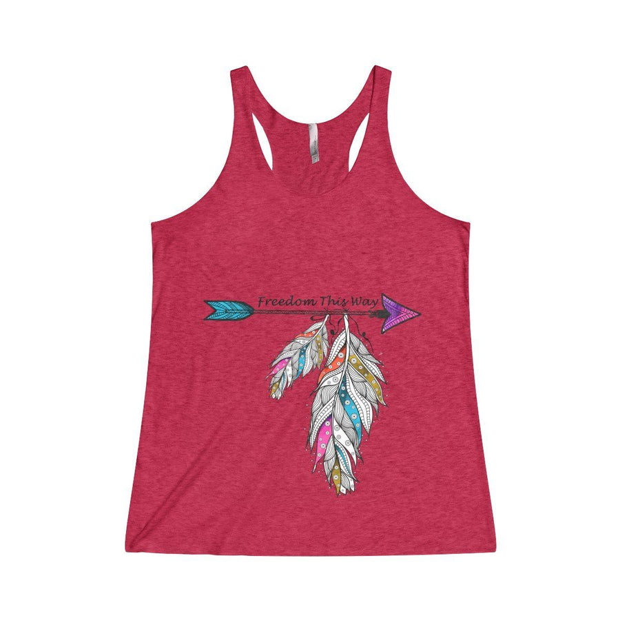 Freedom Racerback Tank Top Design Custom Printed Usa Free Spirit Boho Feather Fashion Red / Xs