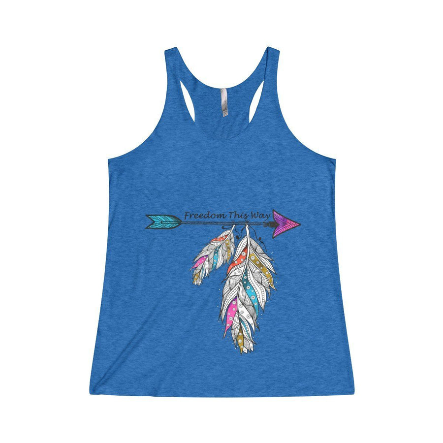 Freedom Racerback Tank Top Design Custom Printed Usa Free Spirit Boho Feather Fashion Dodgerblue / Xs
