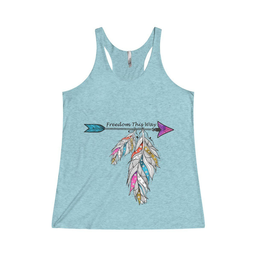 Freedom Racerback Tank Top Design Custom Printed Usa Free Spirit Boho Feather Fashion Darkturquoise / Xs