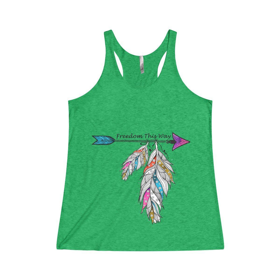 Freedom Racerback Tank Top Design Custom Printed Usa Free Spirit Boho Feather Fashion Forestgreen / Xs
