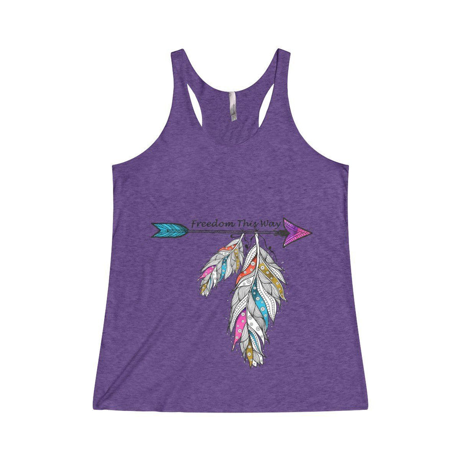 Freedom Racerback Tank Top Design Custom Printed Usa Free Spirit Boho Feather Fashion Purple / Xs