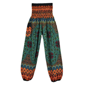 Geometric Mandala Printed Bohemian Yoga Chill Beach Loose Harem One Size Pants Lightseagreen
