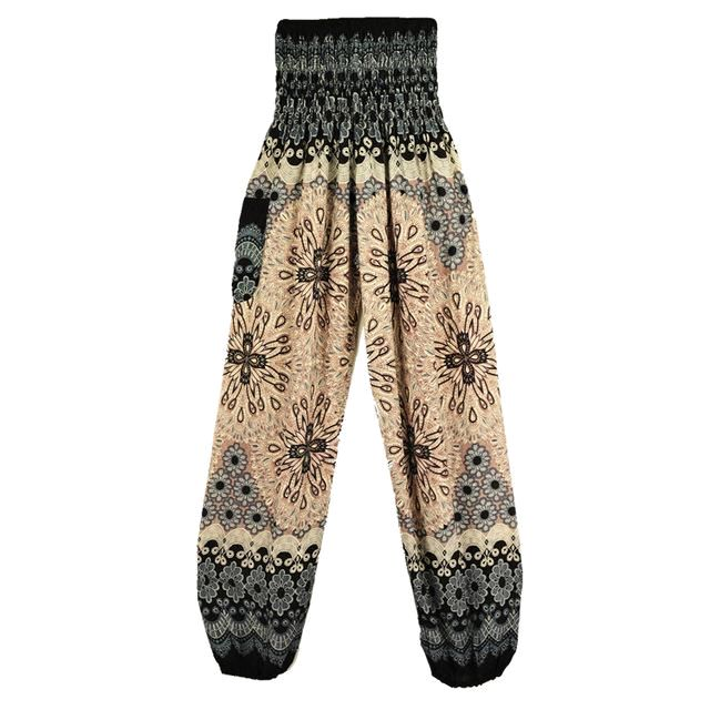 Geometric Mandala Printed Bohemian Yoga Chill Beach Loose Harem One Size Pants Beige