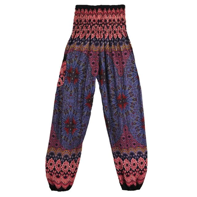 Geometric Mandala Printed Bohemian Yoga Chill Beach Loose Harem One Size Pants Mediumslateblue