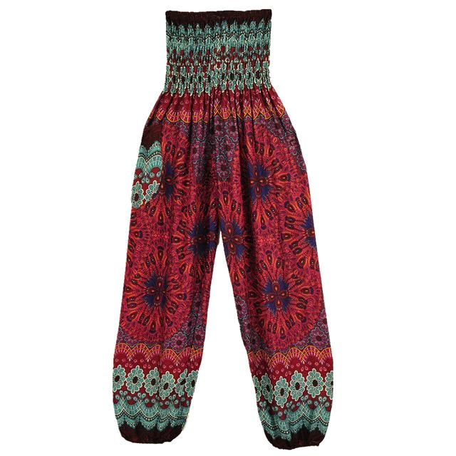 Geometric Mandala Printed Bohemian Yoga Chill Beach Loose Harem One Size Pants Red