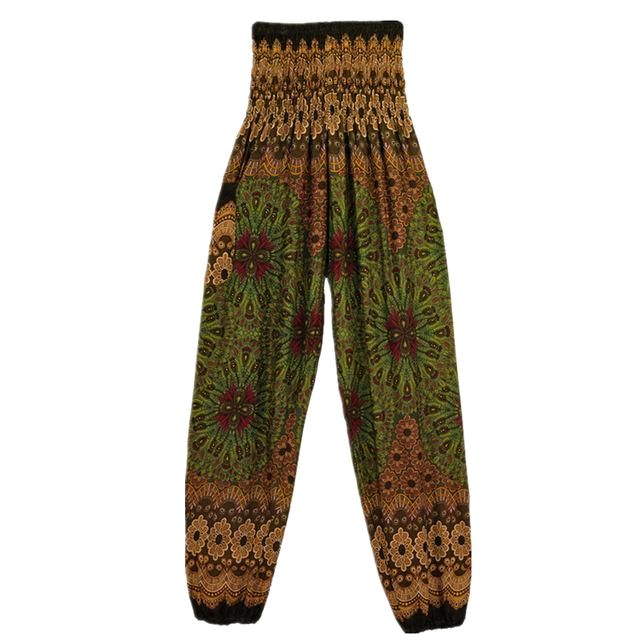 Geometric Mandala Printed Bohemian Yoga Chill Beach Loose Harem One Size Pants Olive