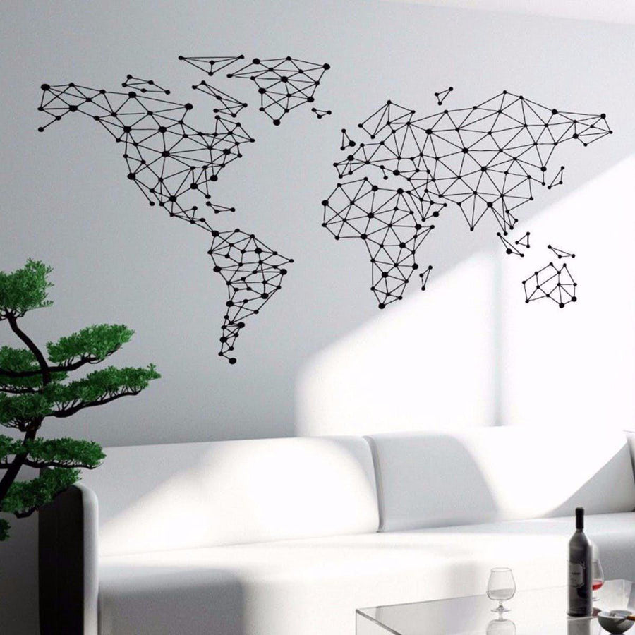 art wall sticker special world map geometric design world. Black Bedroom Furniture Sets. Home Design Ideas