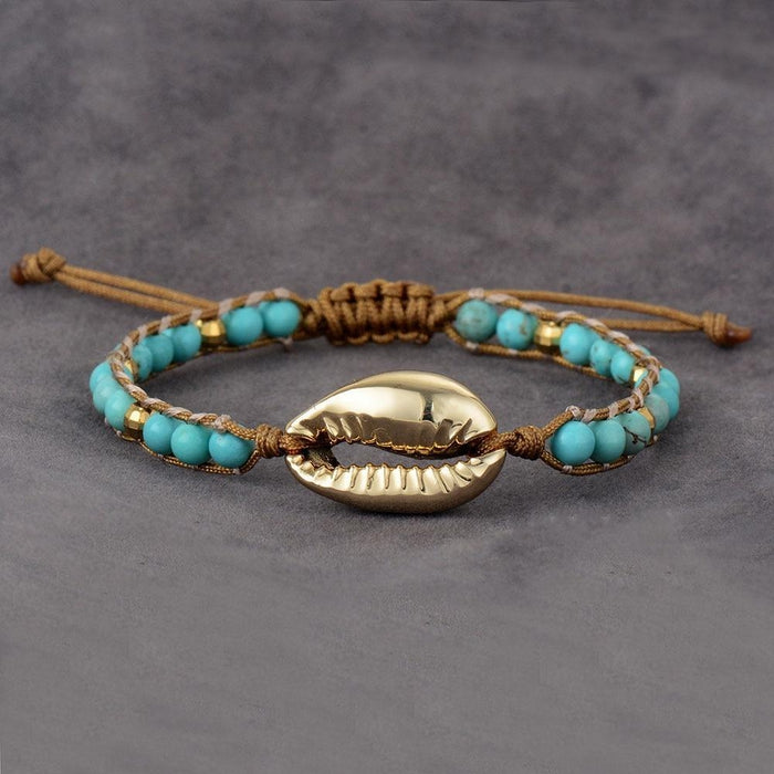 Gold Colored Sea Shell Natural Stones Bracelet-Spirylife
