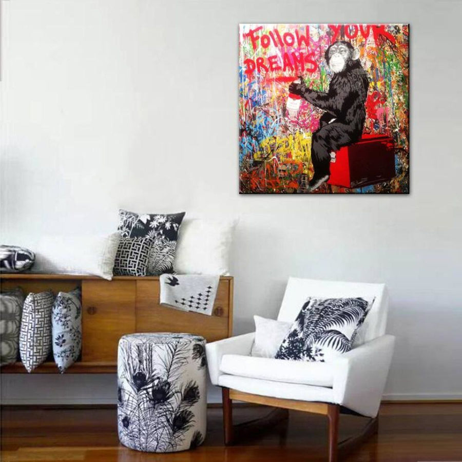 Graffiti Street Art Afro Hair Woman Banksy Follow Your Dream Canvas Prints Wall