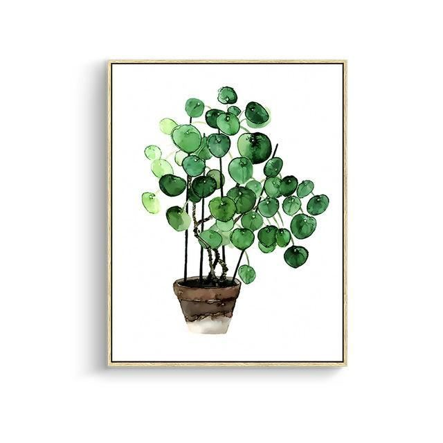 Green Leaves Canvas Prints 15X20Cm No Frame / Jk 005 Wall Art