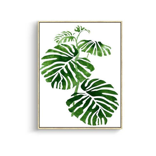 Green Leaves Canvas Prints 15X20Cm No Frame / Jk 082 Wall Art