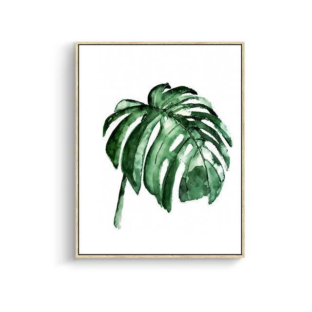 Green Leaves Canvas Prints 15X20Cm No Frame / Jk 002 Wall Art