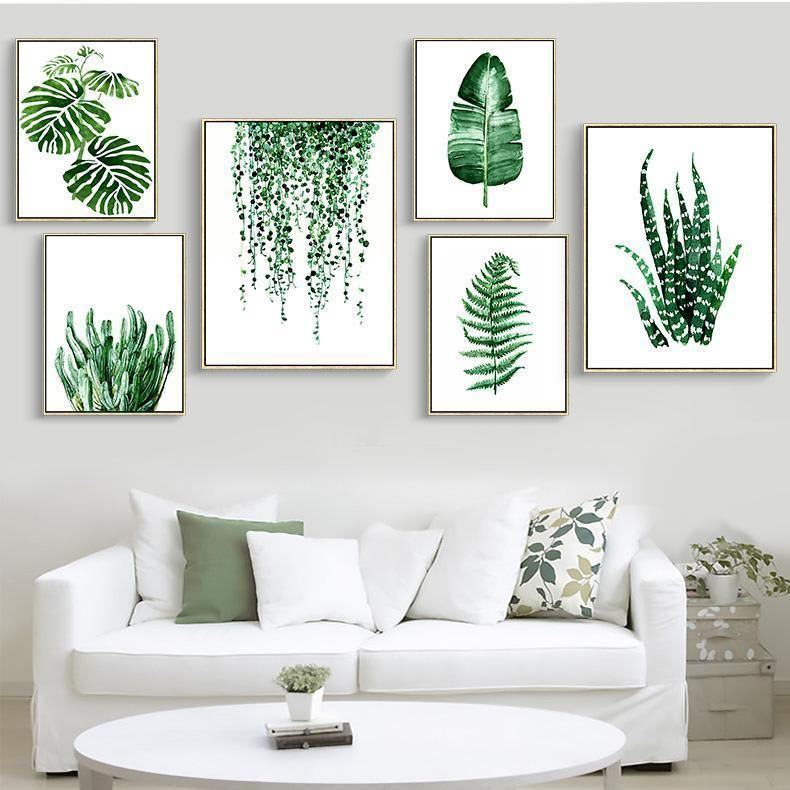 Green Leaves Canvas Prints Wall Art
