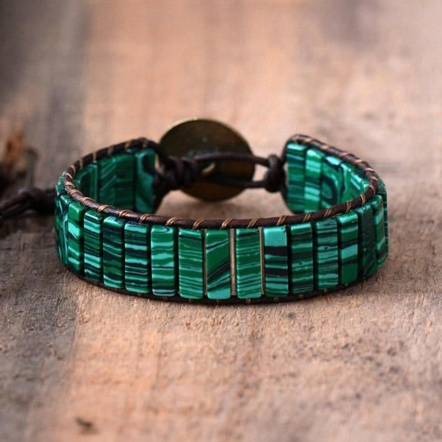 Green Malachite Stone Bracelet Saddlebrown Bracelets
