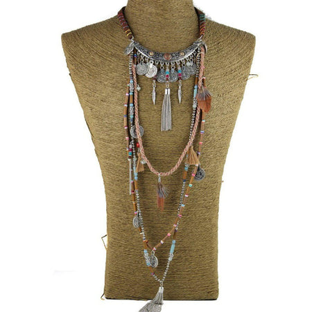 Gypsy Layer Necklace Collier, Long, Multi Layer, Tribal Necklaces gypsy-layer-necklace silver 1