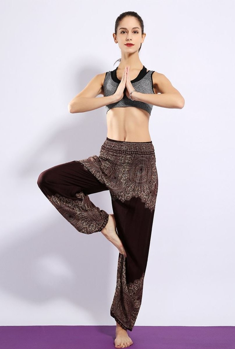 Half Print Bohemian Yoga Beach Vacation Lounge Harem Pants