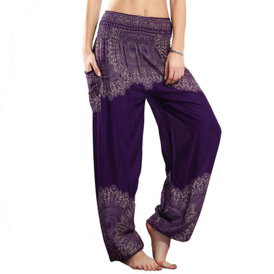 Half Print Bohemian Yoga Beach Vacation Lounge Harem Pants Purple