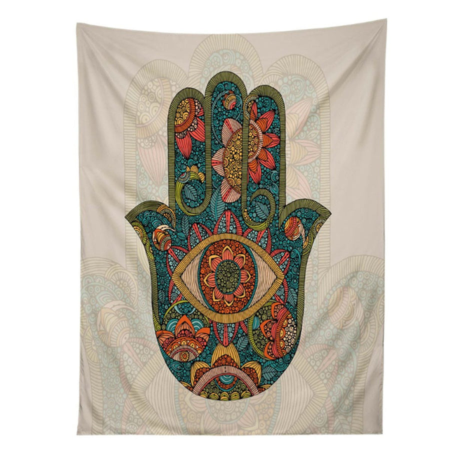 Hamsa Hand Indian Mandala Floral Wall Hanging Tapestry Tapestrie