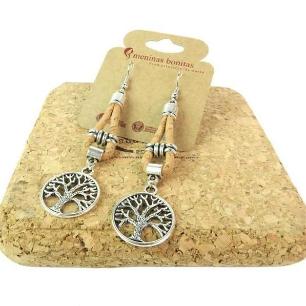Handmade Cork Tree Of Life Dangle Earrings