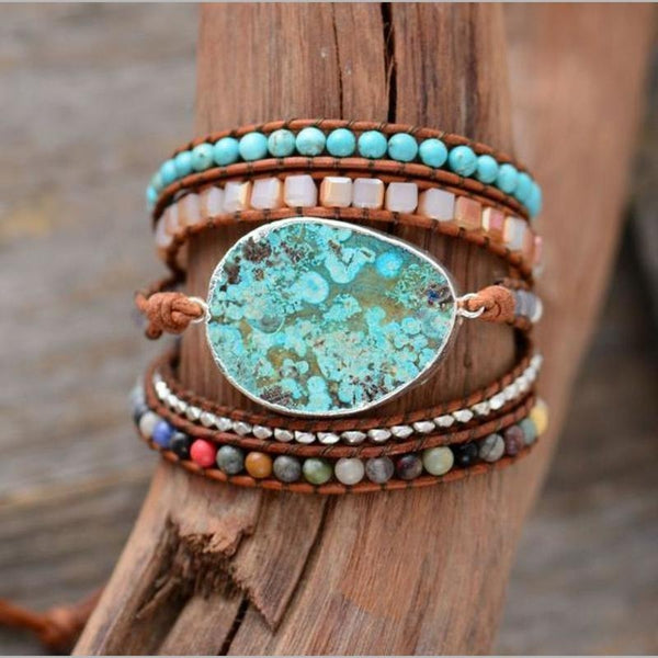 Handmade Leather Natural Gilded Stone Wrap Bohemian Boho Gypsy Hippie Bracelet Jewelry Bracelets