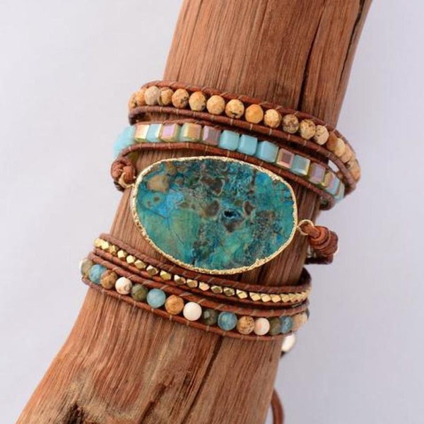 Handmade Leather Natural Gilded Stone Wrap Bohemian Boho Gypsy Hippie Bracelet Jewelry Gold Color Bracelets