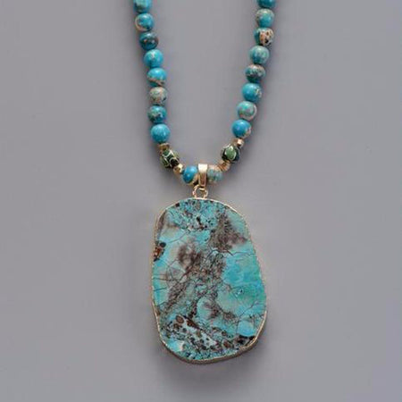 Handmade Natural Stone Pendant Necklace bohemian gypsy jewelry boho chic Bohemian Long Turquoise Necklaces