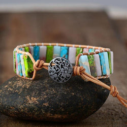 Happy Spring Natural Stones Leather Bracelet-Spirylife