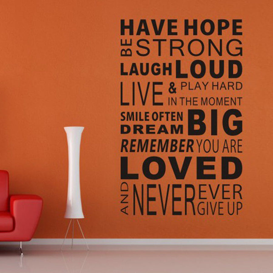 Have Hope Sticker Family Rules Home Decor Quotes Office Decoration Mural Wall Quote 100cm x 60cm Quotes Wall Sticker